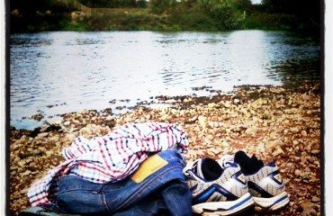 clothes riverbank swim