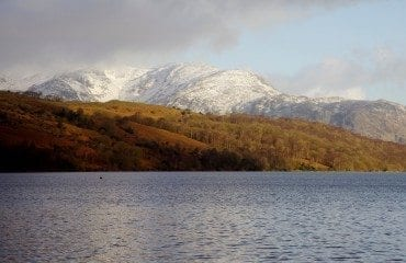 lake coniston snow mountain