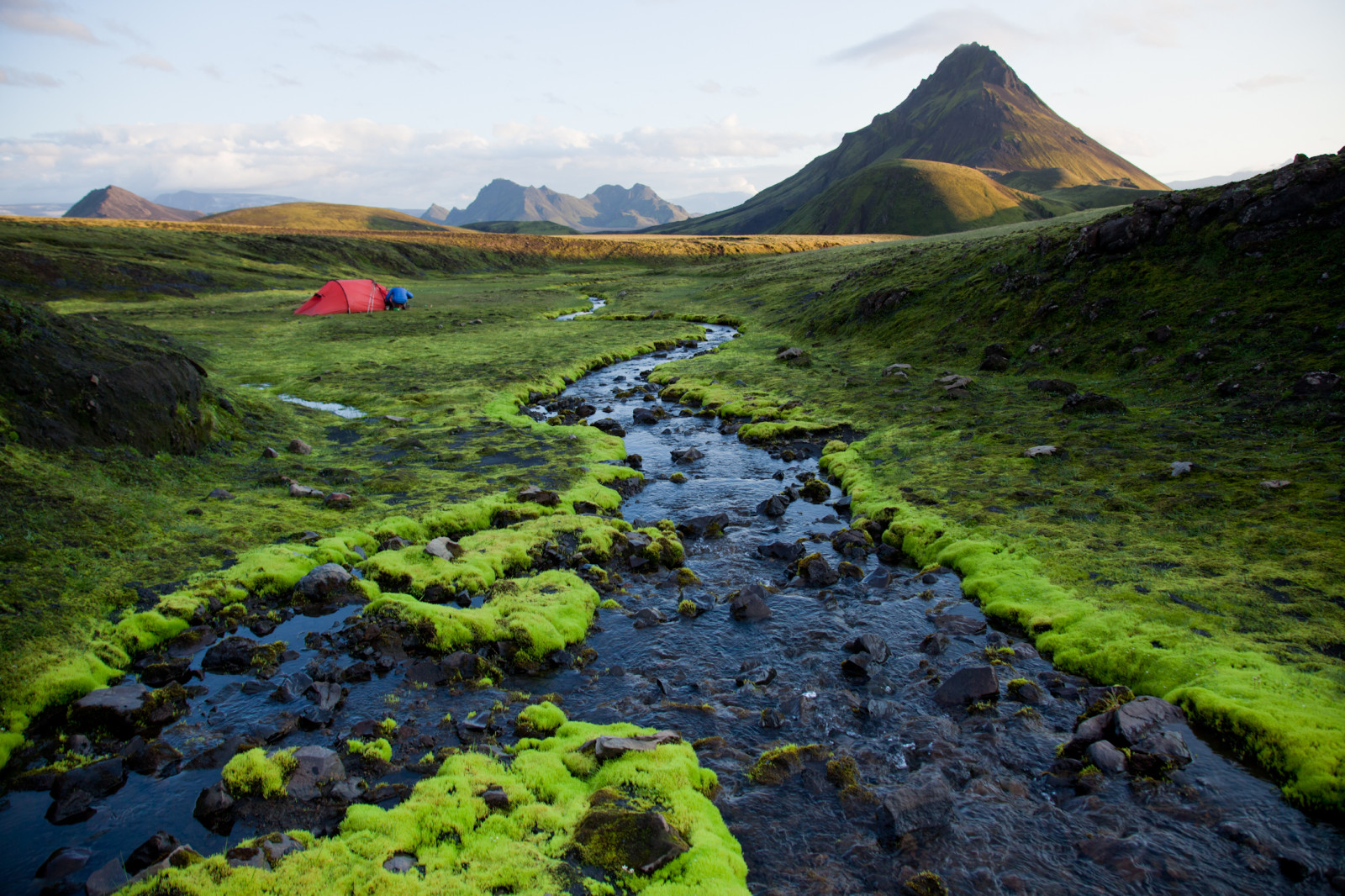 iceland tent mountain river