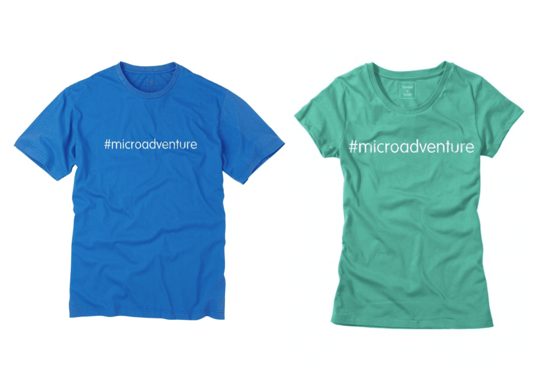 microadventure t-shirt blue green