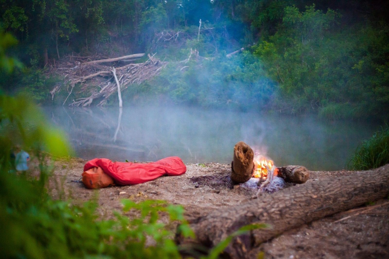 bivvy river texas campfire
