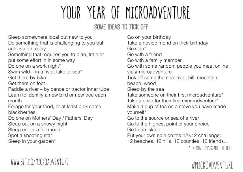 Microadventure ideas