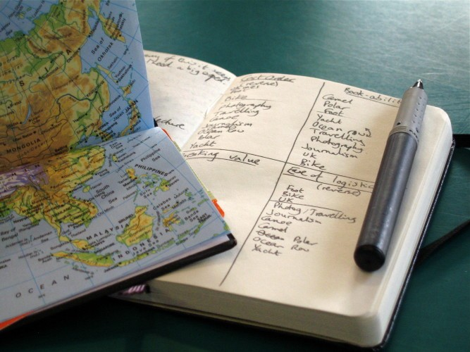 diary pen map planning