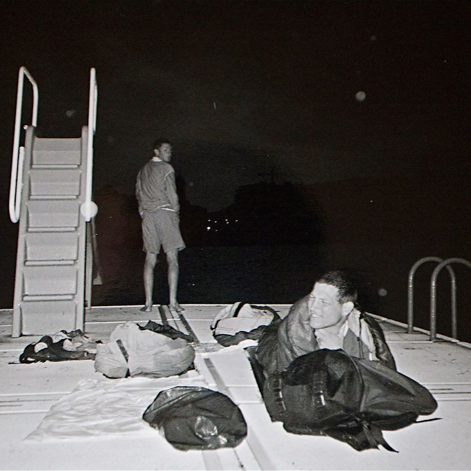 One of my first ever bivvies. On a swim platform out in a bay in Spain. All was fun until it began to pour with rain in the middle of the night... #spain