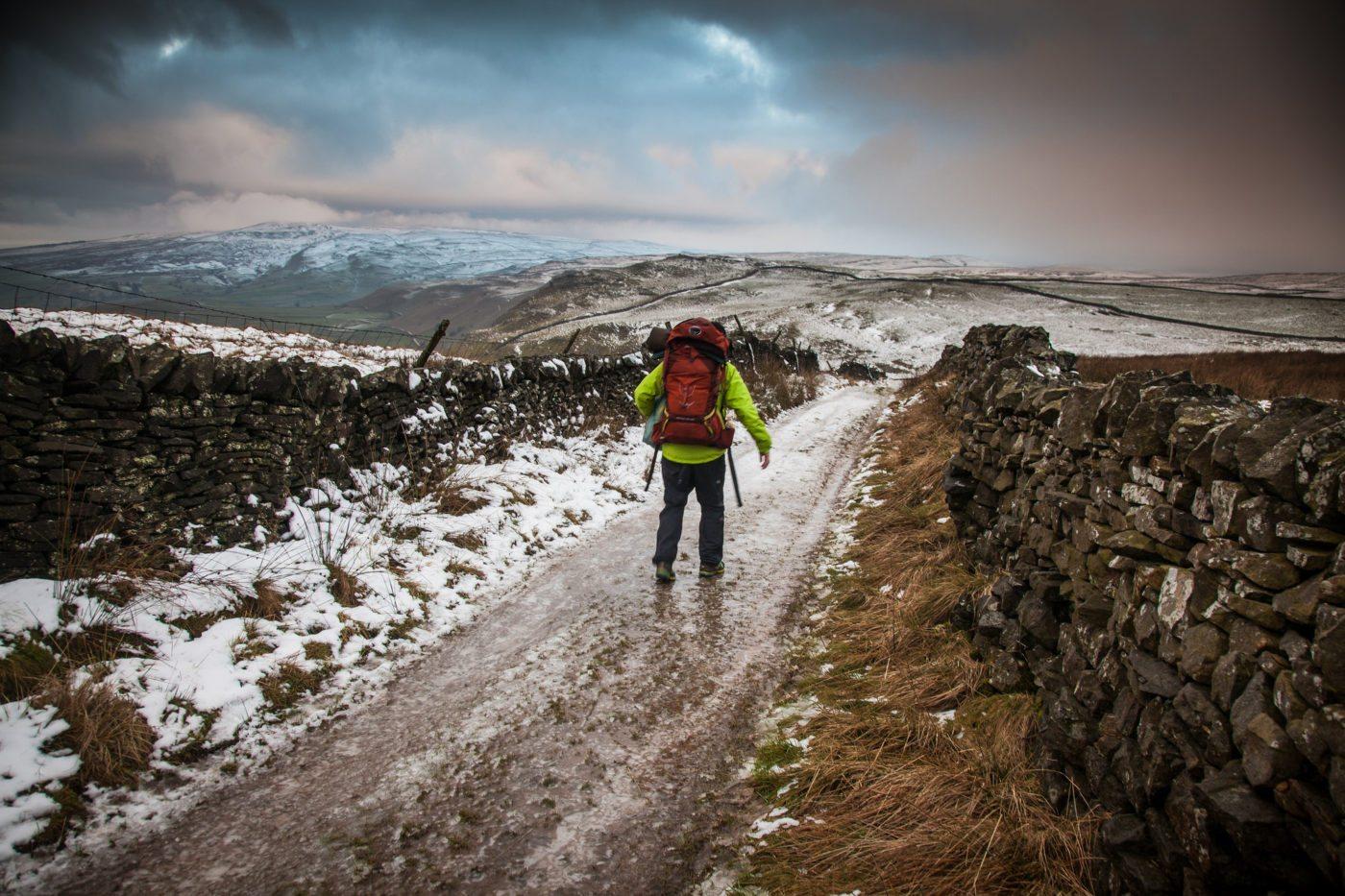 walking snowy hill