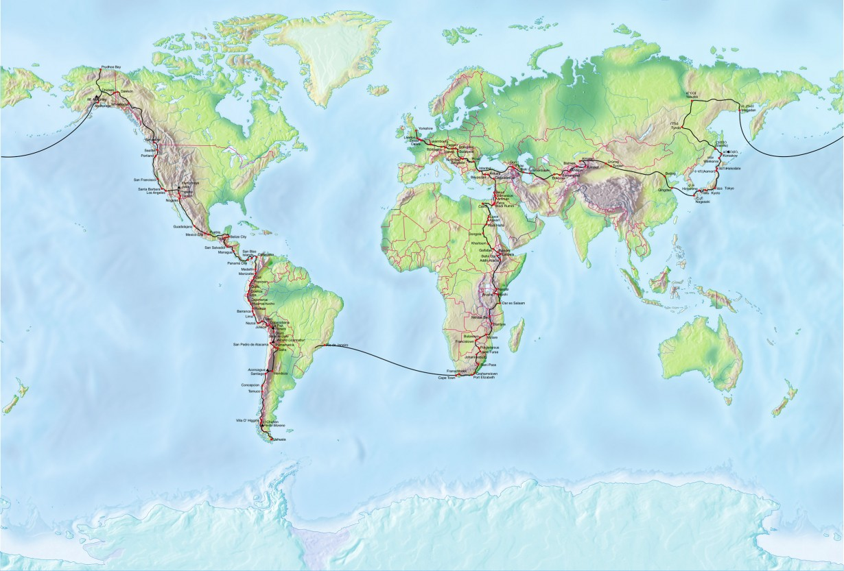 cycle round the world map