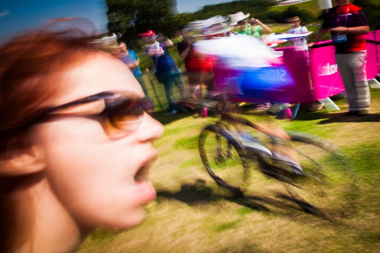 Girl shouting in Bike race