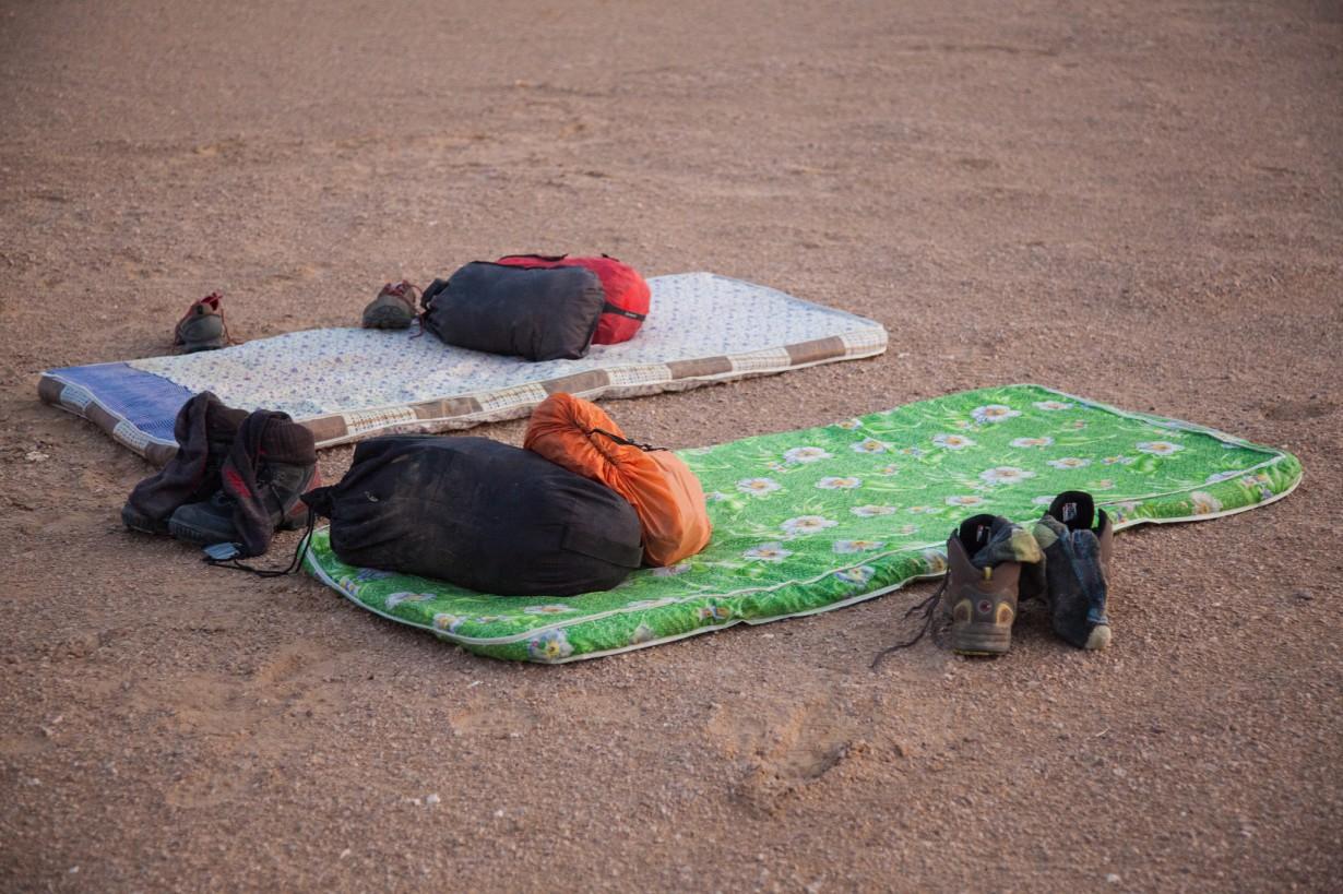 camping bed desert