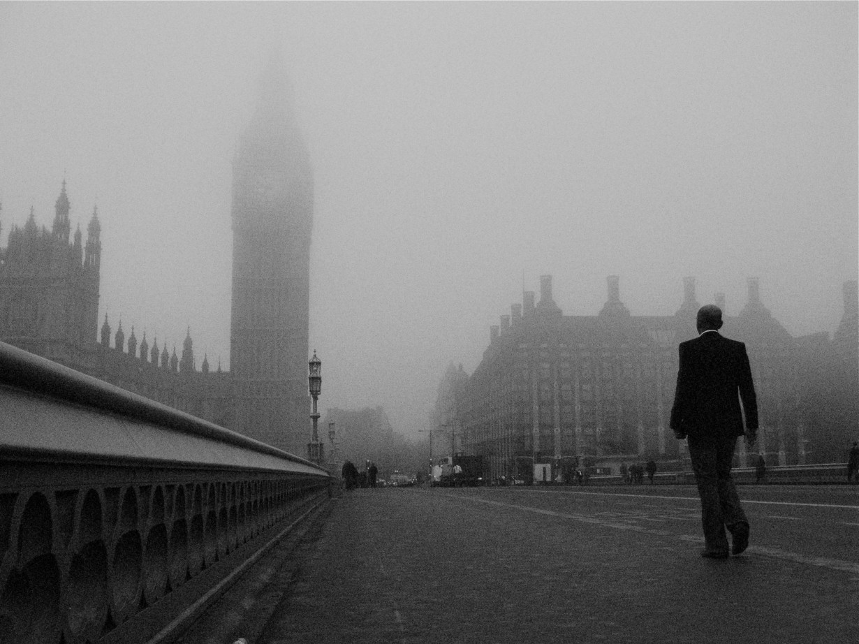 westminster bridge london city fog man worker suit