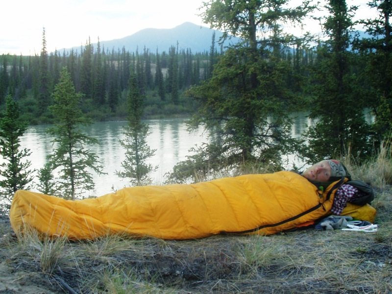 camping on the banks of the Yukon