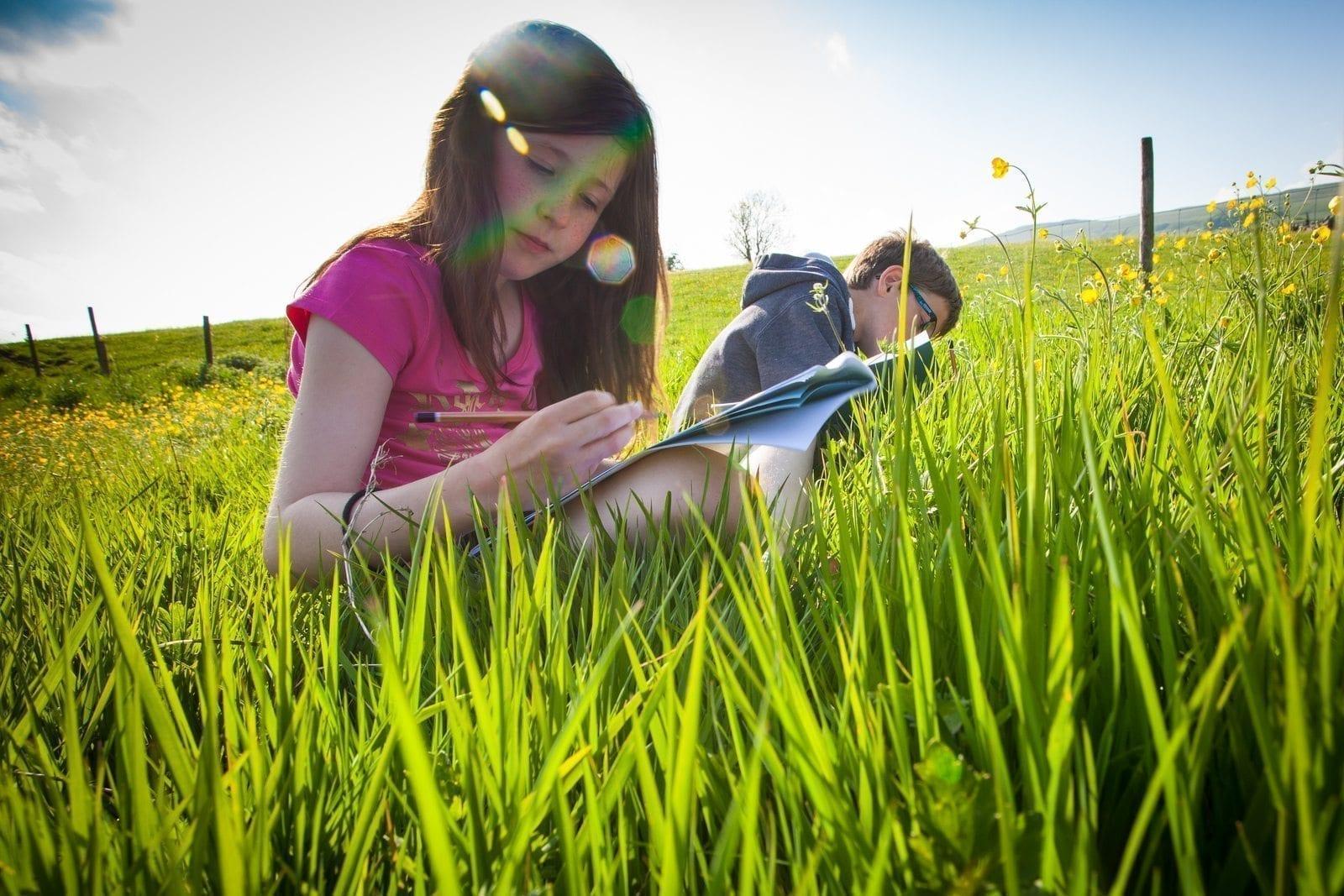girl grass drawing microadventure